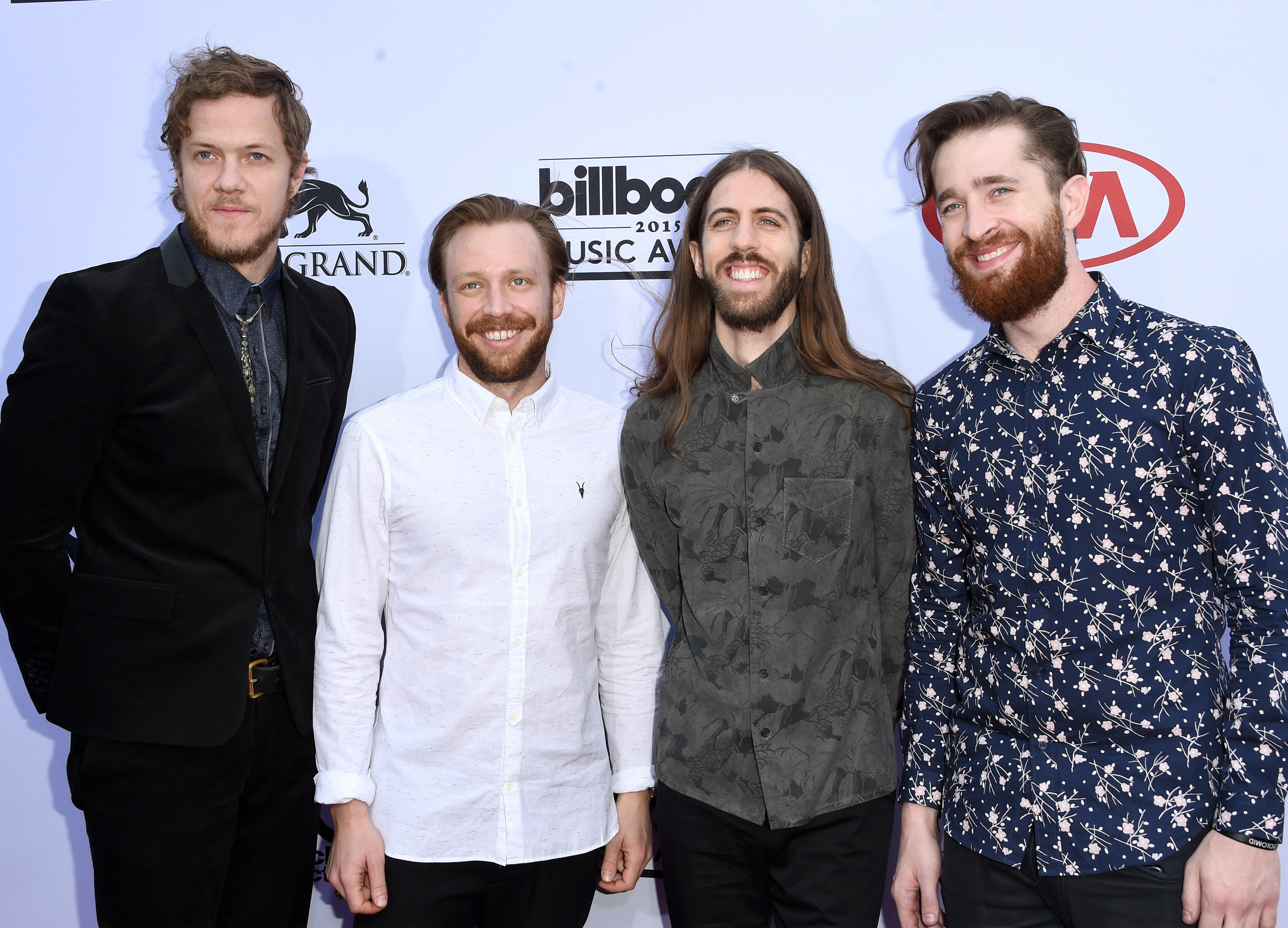 LAS VEGAS, NV - MAY 17:  (L-R) Musicians Dan Reynolds, Ben McKee, Wayne Sermon, and Daniel Platzman of Imagine Dragons attend the 2015 Billboard Music Awards at MGM Grand Garden Arena on May 17, 2015 in Las Vegas, Nevada.  (Photo by Jason Merritt/Getty Images)