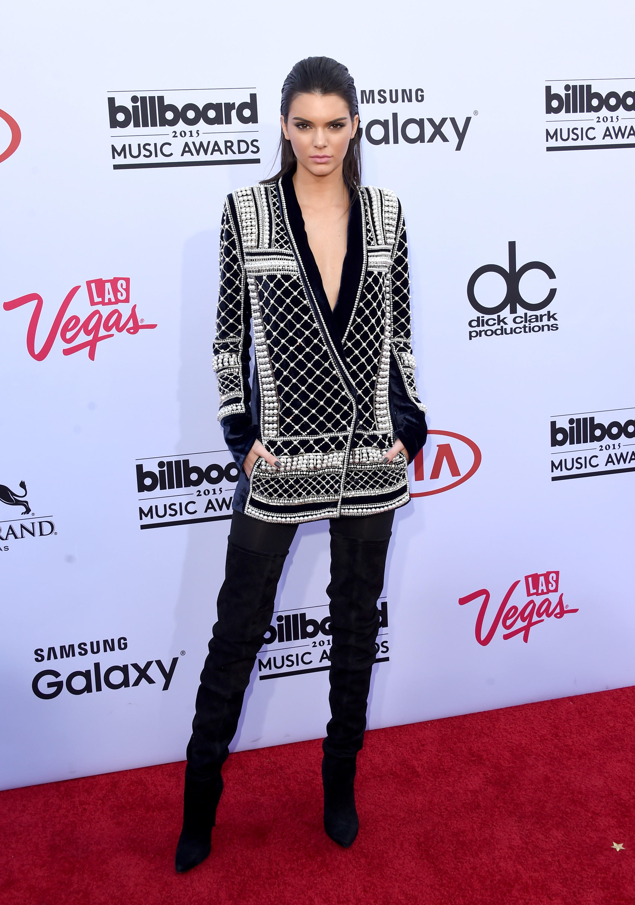 LAS VEGAS, NV - MAY 17:  Model Kendall Jenner wearing Balmain x H&M attends the 2015 Billboard Music Awards at MGM Grand Garden Arena on May 17, 2015 in Las Vegas, Nevada.  (Photo by Jason Merritt/Getty Images)